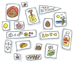 Illustration featuring items that sum up the Bitchin' Life—delicious foods like almonds, garlic and lemons, and guitars and scenic views.